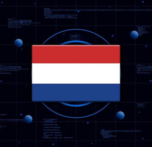 Drapeau des pays-bas avec des éléments technologiques réalistes, rendu 3d