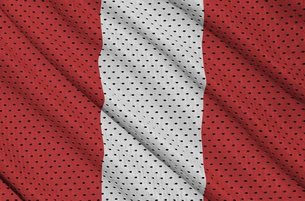 Drapeau pérou imprimé sur un tissu en maille de sportswear en nylon polyester