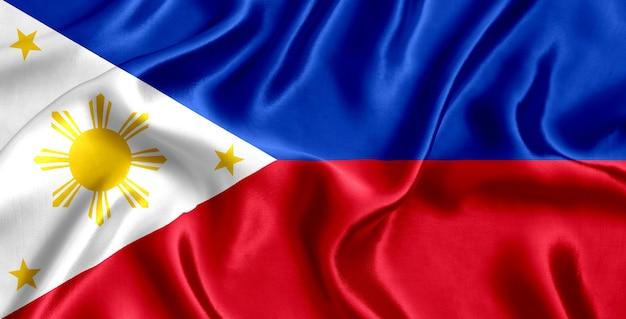 Drapeau, de, philippines, soie, gros plan