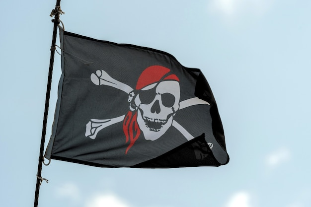 Drapeau de pirate noir crâne et os croisés jolly roger