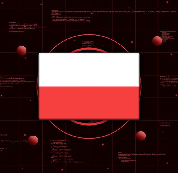 Drapeau de la pologne avec des éléments technologiques réalistes, rendu 3d