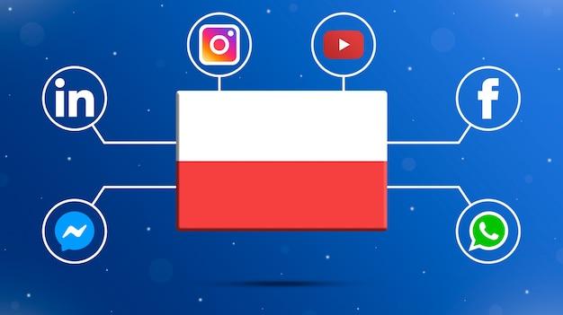 Drapeau de la pologne avec des logos de médias sociaux 3d