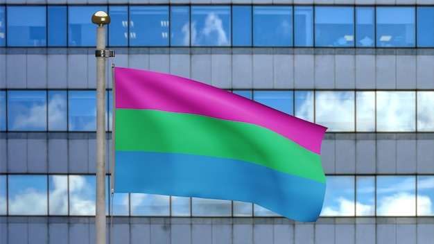 Drapeau de polysexualité 3d agitant sur le vent dans la ville moderne. gros plan de la bannière polysexuelle soufflant, soie douce et lisse. fond d'enseigne de texture de tissu de tissu. utilisez-le pour le concept de fierté et d'événements gays.