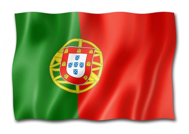 Drapeau portugais isolé sur blanc