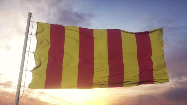 Drapeau de la provence, france, ondulant dans le vent, le ciel et le soleil. rendu 3d.