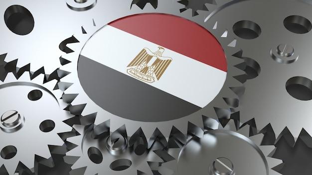 Drapeau de la république arabe d'egypte avec des engrenages