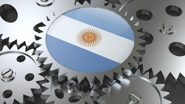 Drapeau de la république argentine avec engrenages
