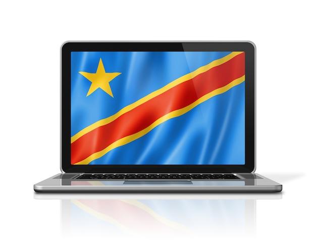 Drapeau de la république démocratique du congo sur écran d'ordinateur portable isolé sur blanc. rendu d'illustration 3d.