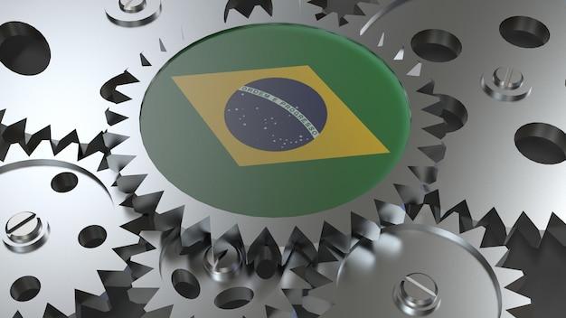 Drapeau de la république fédérative du brésil avec engrenages