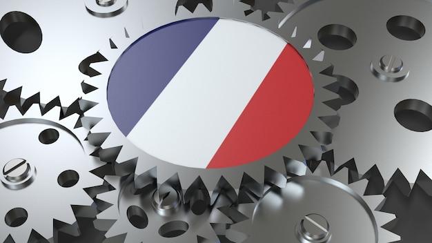 Drapeau de la république française avec engrenages