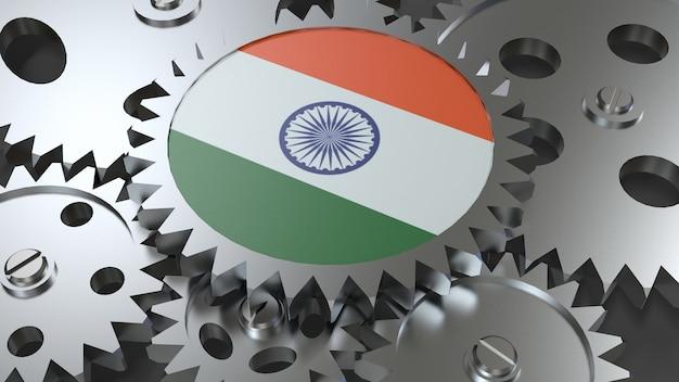 Drapeau de la république de l'inde avec des engrenages