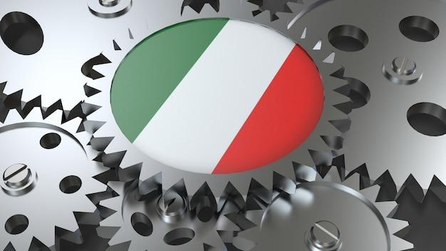 Drapeau de la république italienne avec engrenages