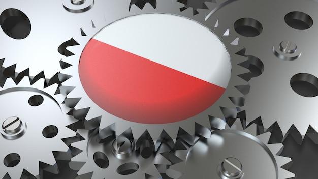 Drapeau de la république de pologne avec engrenages