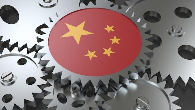 Drapeau de la république populaire de chine avec engrenages