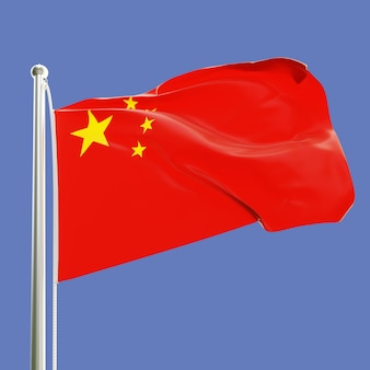 Drapeau de la république populaire de chine sur le mât de drapeau ondulant dans le vent isolé sur fond de ciel bleu