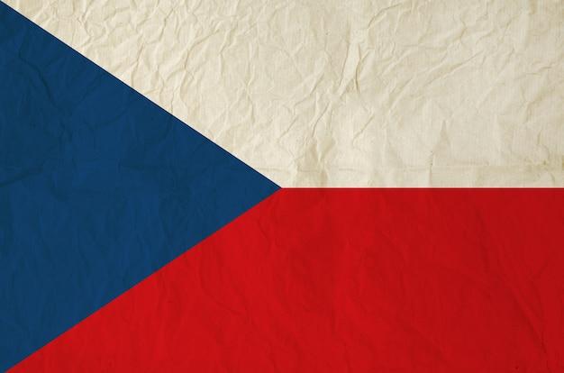 Drapeau de la république tchèque avec du vieux papier vintage