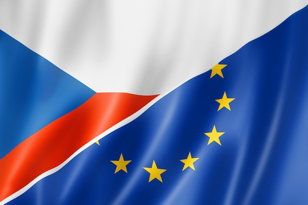 Drapeau de la république tchèque et de l'europe