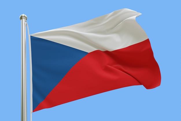 Drapeau de la république tchèque sur mât ondulant dans le vent isolé sur fond bleu