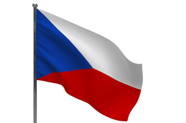 Drapeau de la république tchèque sur le poteau. mât de drapeau en métal. drapeau national de la république tchèque illustration 3d sur blanc