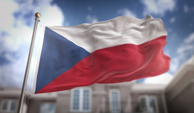 Drapeau de la république tchèque rendu 3d sur le fond du bâtiment du ciel bleu