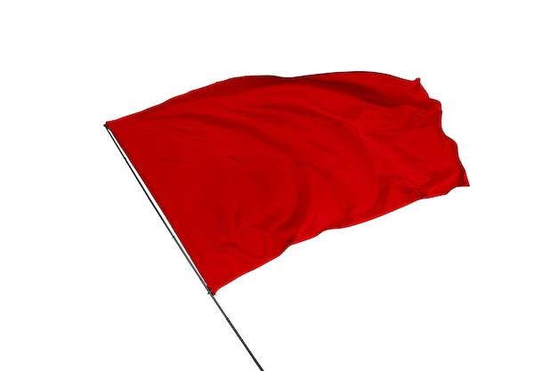 Drapeau rouge sur fond blanc