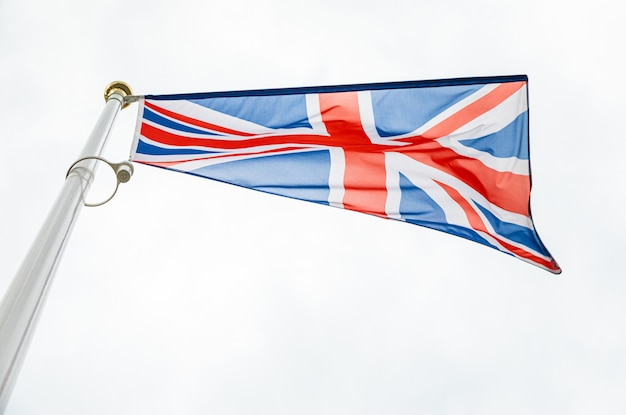 Drapeau, royaume-uni, drapeau, devant, ciel