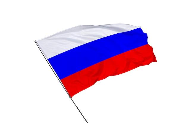 Drapeau de la russie sur fond blanc