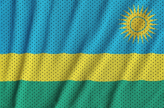 Drapeau rwanda imprimé sur un tissu en maille polyester nylon sportswear