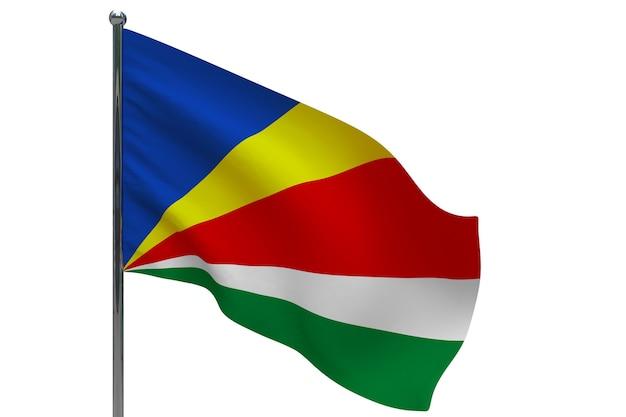 Drapeau des seychelles sur le poteau. mât de drapeau en métal. drapeau national des seychelles illustration 3d sur blanc