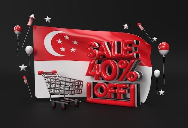 Drapeau de singapour 3d avec 40 % de réduction sur le concept de bannière de remise.