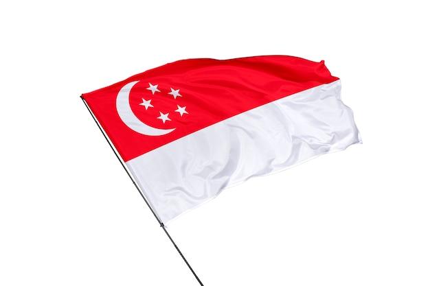 Drapeau de singapour sur fond blanc