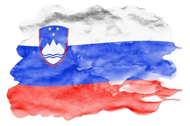 Le drapeau de la slovénie est représenté dans un style aquarelle liquide isolé sur blanc