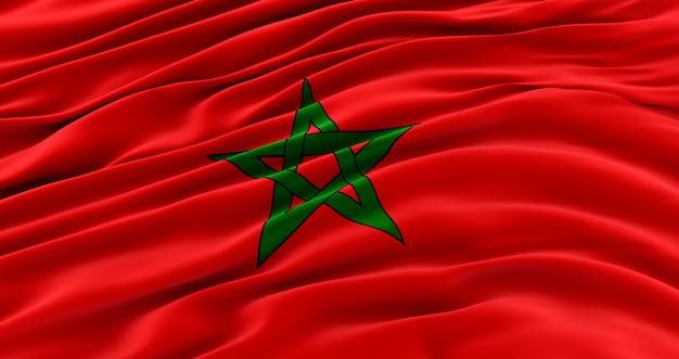 Drapeau en soie du maroc. drapeau en tissu du maroc. rendu 3d