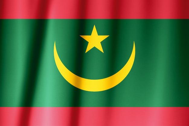 Drapeau en soie de la mauritanie. drapeau mauritanie de tissu en soie