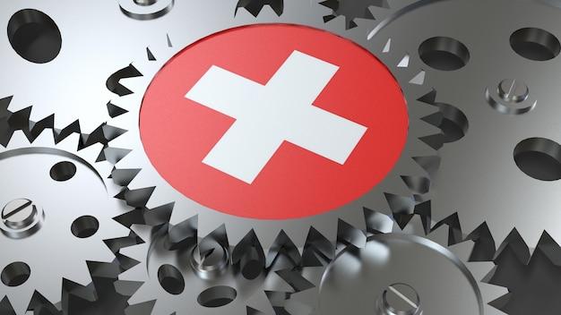 Drapeau suisse avec engrenages