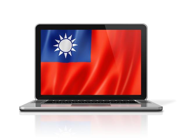 Drapeau de taïwan sur écran d'ordinateur portable isolé sur blanc. rendu d'illustration 3d.