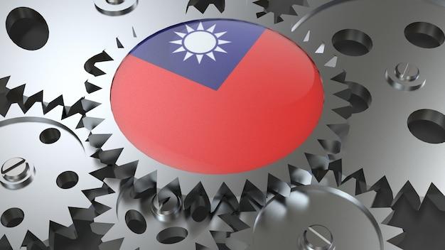 Drapeau de taïwan avec des engrenages