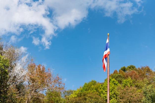Drapeau thaïlandais dans le vent arbres autour du ciel et des nuages