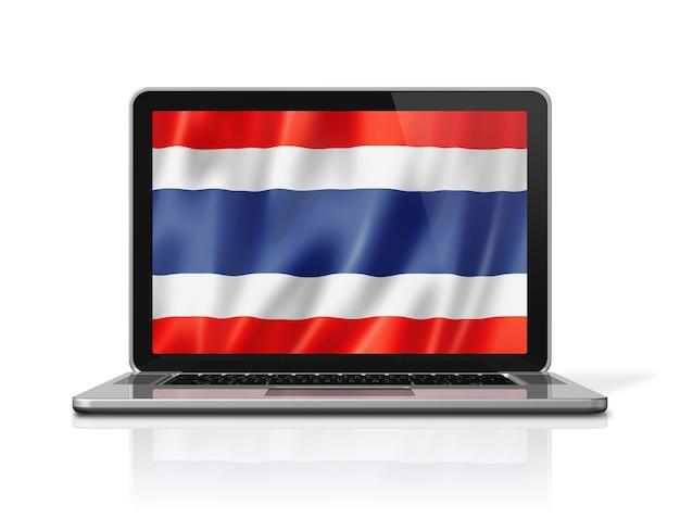 Drapeau de la thaïlande sur écran d'ordinateur portable isolé sur blanc. rendu d'illustration 3d.