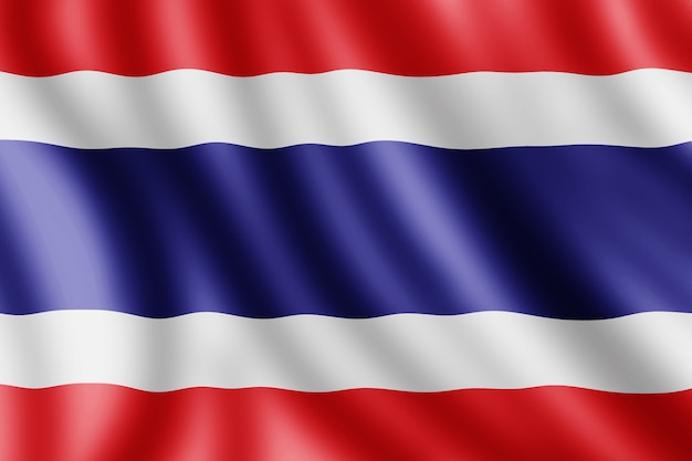 Drapeau de la thaïlande, illustration réaliste