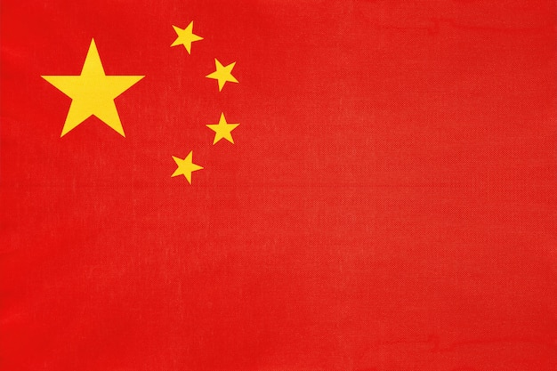 Drapeau de tissu national de chine, symbole du pays asiatique international du monde.