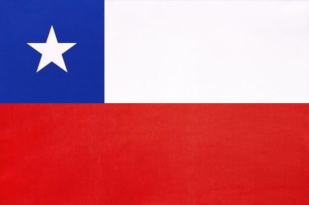 Drapeau de tissu national du chili, symbole du monde international pays d'amérique du sud.