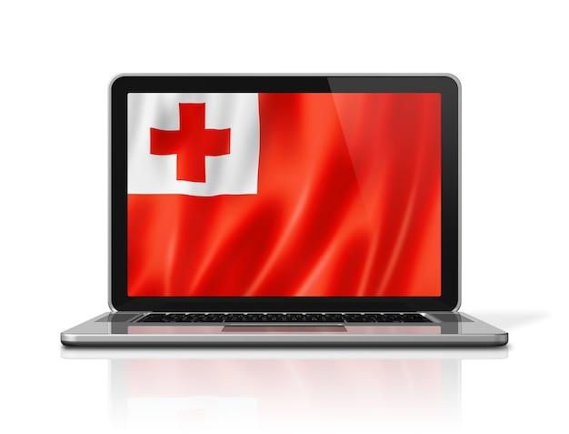 Drapeau des tonga sur écran d'ordinateur portable isolé sur blanc. rendu d'illustration 3d.