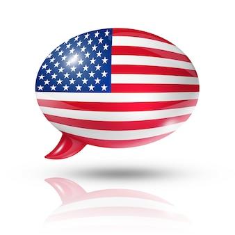 Drapeau tridimensionnel des états-unis dans une bulle de dialogue
