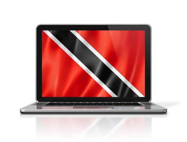 Drapeau de la trinité-et-tobago sur écran d'ordinateur portable isolé sur blanc. rendu d'illustration 3d.