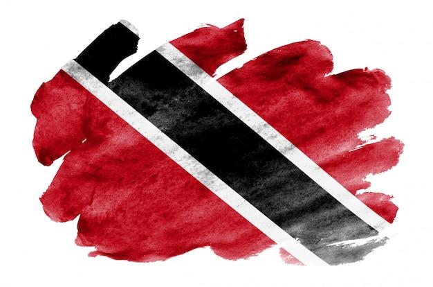 Le drapeau de la trinité-et-tobago est représenté dans un style aquarelle liquide isolé