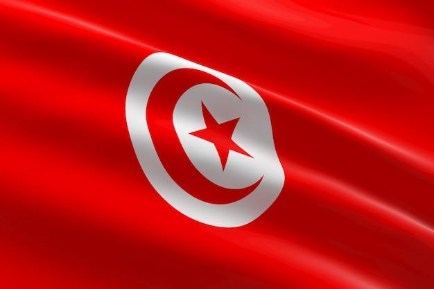 Drapeau de la tunisie. 3d illustration du drapeau tunisien en agitant