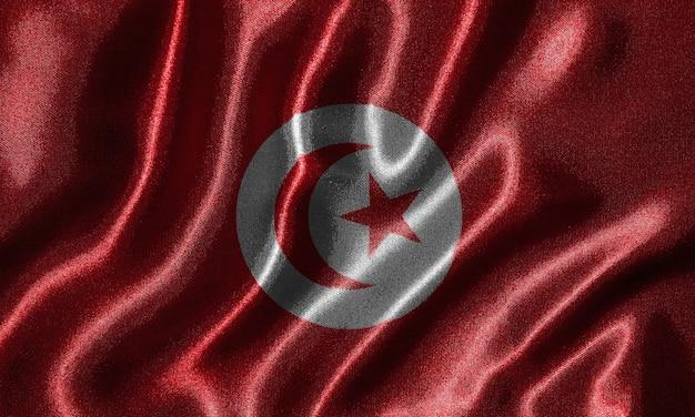 Drapeau de la tunisie - drapeau de la tunisie, fond de drapeau ondulant par textile.