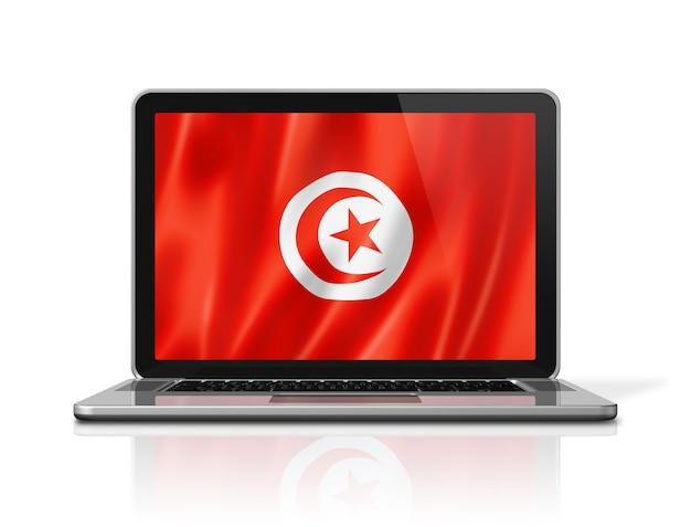 Drapeau tunisie sur écran d'ordinateur portable isolé sur blanc. rendu d'illustration 3d.