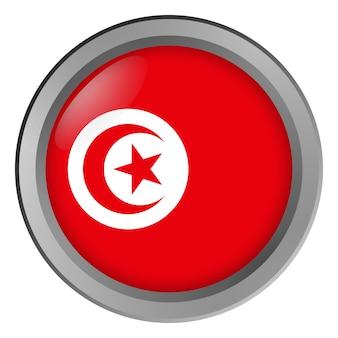 Drapeau de la tunisie rond comme un bouton